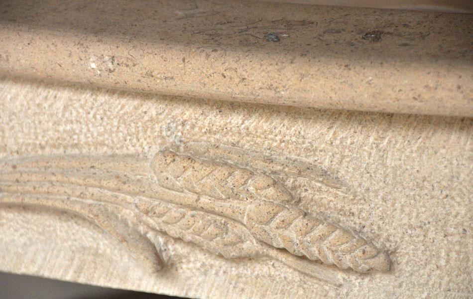 Epis de blé sur évier en pierre de Massangis - Bourgogne sculpture