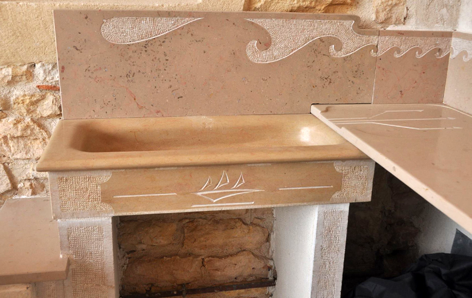 Bourgogne sculpture plan de travail en pierre