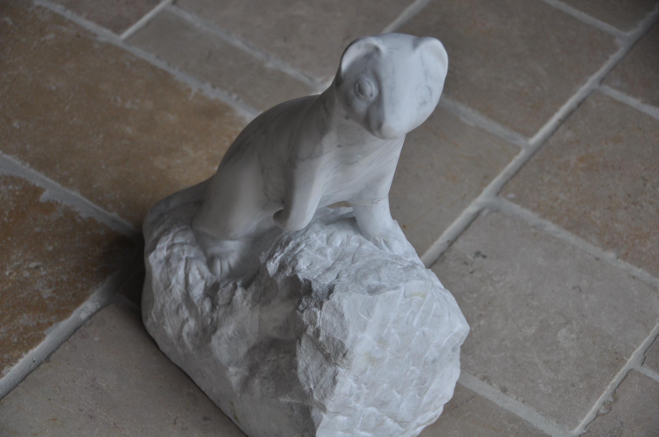 Hermine en marbre de Carrare