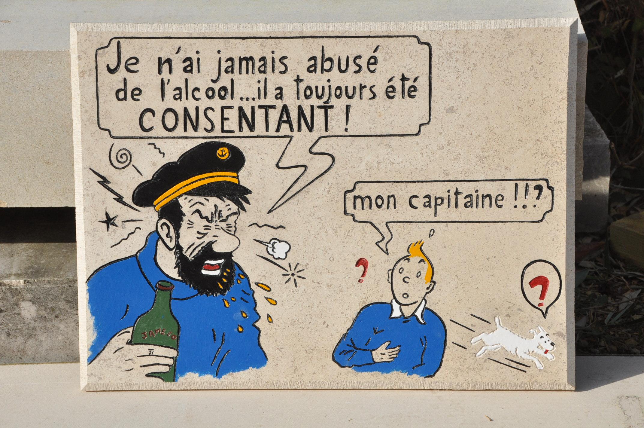 Gravure Tintin et capitaine Haddock en pierre de bourgogne